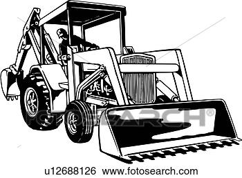 Construction heavy industrial front end loader frontloader view