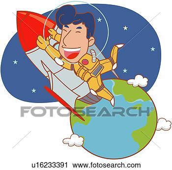 航天卡通边框背景