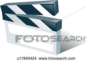 clipart movieday kl ppelausschu schneiden film schiefer jubil um symbol u17840424. Black Bedroom Furniture Sets. Home Design Ideas