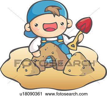 儿童玩沙子简易画法