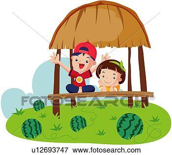 乡村儿童插画