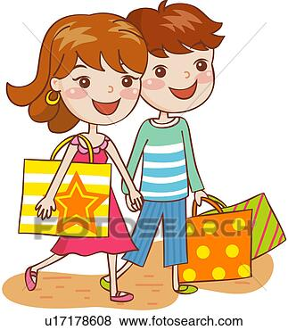 Shopping bag hands holding two men couple view large clip art