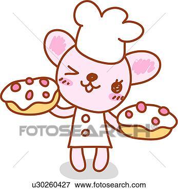 Stock illustration chef s hut katz gebäck küchenchef kuchen