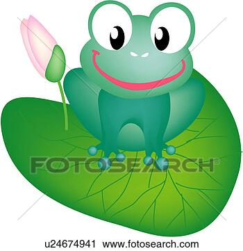 Flower Frogs on Royalty Free Clip Art   Two Pink Lotus Flowers Floating With Lilypads