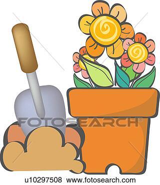 剪贴画 - 泥刀, 植物,