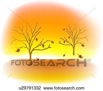 剪贴画 - 树, 性质, 落下