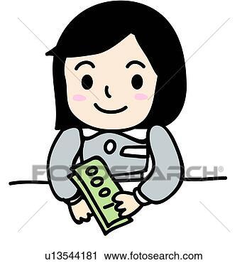 紙幣, 銀行出納係, お金, 保有物 ...