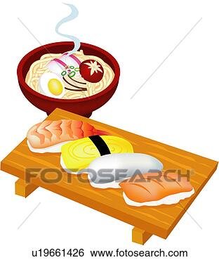 Clip Art of cuisine, japan, rice, egg, fish, japanese food, food ...