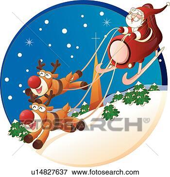 圣诞老人 笔剪贴画