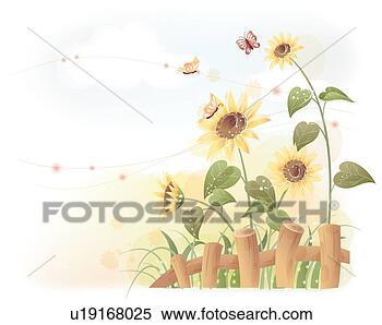 剪贴画 - 向日葵, 夏天