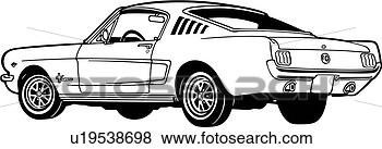 clip art of   1965  2  automobile  car  classic  fastback