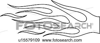 Motorcycle helmet torch flame pinstriping view large clip art