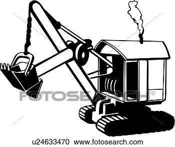 Construction heavy equipment steam shovel trade view large clip