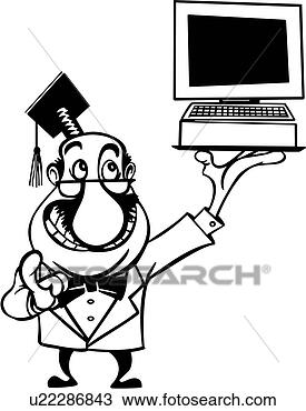 cartoon, computer, consultant, View Large Clip Art Graphic