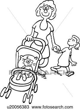 Clipart dessins anim s famille gens landau poussette - Poussette dessin ...