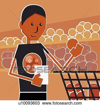 Dessin - gros plan, jeune,  femme, achats,  supermarché. fotosearch  - recherchez des  cliparts, des  illustrations,  des dessins et  des images vectorisées  au format eps