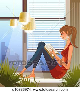Disegni donna sedendo su davanzale finestra libro - Davanzale finestra ...