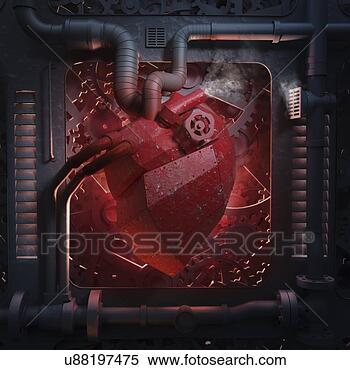 - 机械, 心,