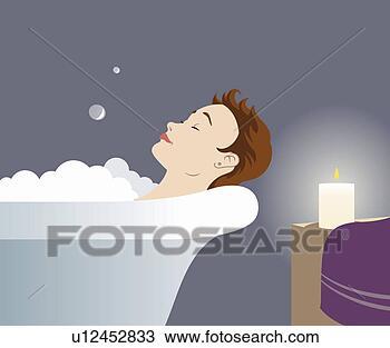 Dessin - femme, à, cheveux courts, dans, baignoire, délassant, par ...