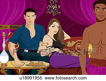 Stock Illustration - waiter looking  at other man's  girlfriend. fotosearch  - search clipart,  illustration,  drawings and vector  eps graphics images