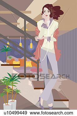 Stock illustratie jonge vrouw creatie visie uiterlijk moderne kunst schilderij trap - Kleur trap schilderij ...