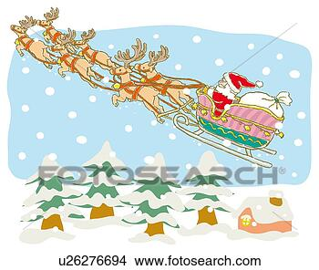 Arquivos de Ilustração - pintura, santa,  claus, voando,  renas, ilustração.  fotosearch - busca  de imagens de  vetor grã¡fico,  desenhos, clip  art, ilustraã§ãµes