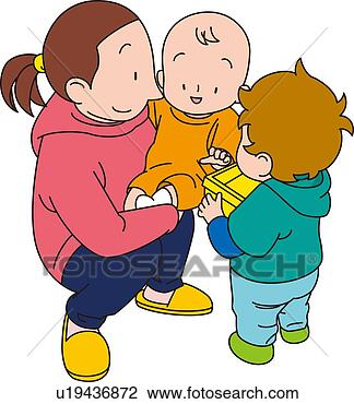 Clip Art - Babysitter, Illustrative Technique. Fotosearch - Search Clipart, Illustration Posters, Drawings, and EPS Vector Graphics Images