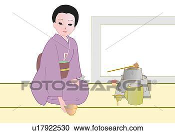 Stock illustraties vrouw zitten en het genieten van japanse theeceremonie in japanner - Muurschildering volwassen kamer ...