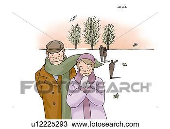 Dessin - personne agee, couple, hiver, illustration, devant, vue. fotosearch - recherchez des cliparts, des illustrations, des dessins et des images vectorisées au format eps