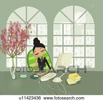 Banque d 39 illustrations jeune femme s 39 endormir bureau for S endormir au bureau