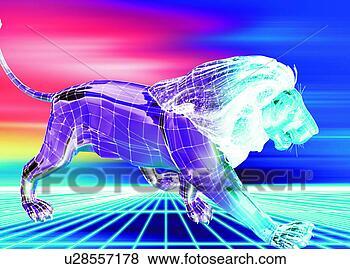 Illustration - lion, high-technology, animal, digital, electronics, 3d
