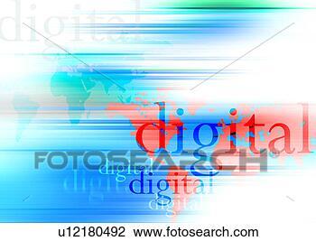Clip art of high technology background techno light digital web