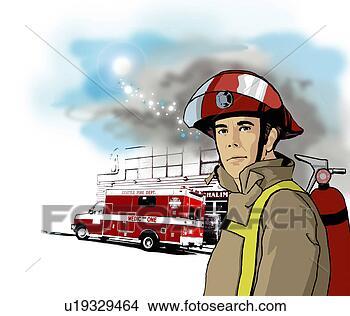 绘画 图画 灭火 器, 男性, 消防车, 火, 火战士, 公