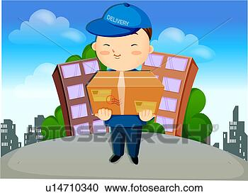 Stock illustration of working delivery worker profession career