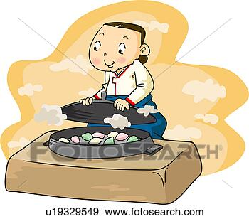 Rice Cake Clip Art : Stock Illustration of sincerity, steamed, cooking, iron ...