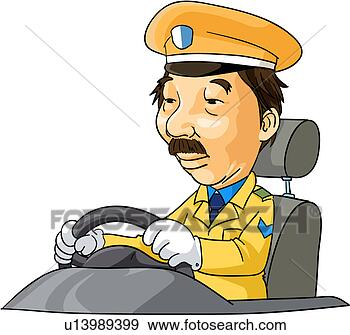 Stock Illustration of uniform, steering wheel, holding ...