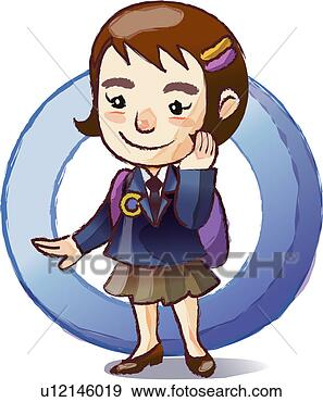 Stock Illustration of Happy School Girl with Backpack ...