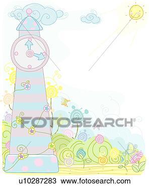 手绘图 - 树, 塔, 钟,