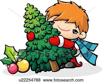 Archivio illustrazioni - bambini, albero, natale, stagioni, palla