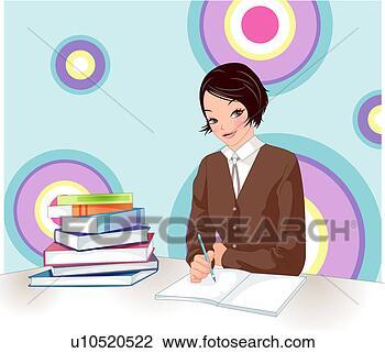 剪贴画 - 女孩, 学习. fotosearch - 搜寻图样,绘画,制图及影像图片