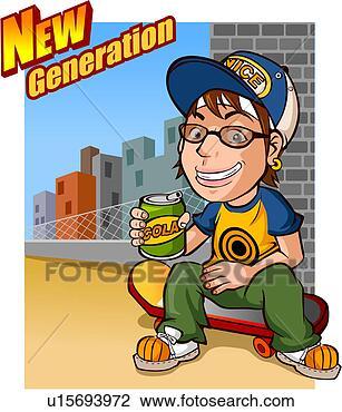 Banque d'Illustrations - boîte, loisir, soude, tenue, skateboard, jeune, génération. fotosearch - recherchez des cliparts, des illustrations, des dessins et des images vectorisées au format eps