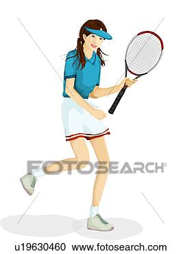 Stock Illustration - Female Tennis Player. Fotosearch - Search Clipart ...