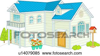 Stock illustration briefkasten familie wohnung aufbau landhaus
