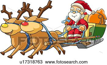 Stock Illustration Sled Winter Santaclaus Deer Christmas