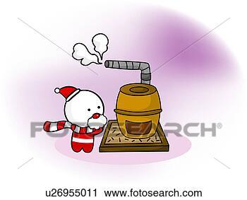 剪贴画 - 圣诞老人, 上的暖和