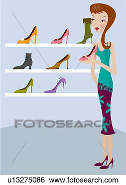 Stock illustration picking out new shoes fotosearch search clip