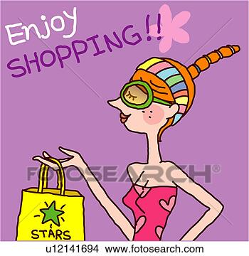 Woman enjoying shopping fotosearch search clip art illustrations