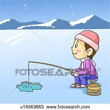 Drawing of ice fishing at night u14563663 search clipart for Ice fishing at night