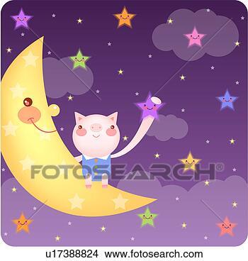 手绘图 - 云, 月亮, 夜晚