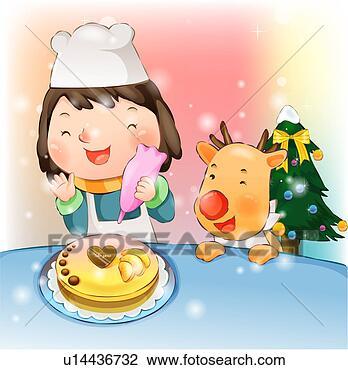 Cake Decor Clipart : Clip Art of Girl Decorating a Christmas Cake u14436732 ...